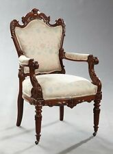 Louis XVI Style Carved Walnut Fauteuil, late 19th century (1800s)