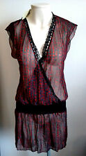 ICHI Cross Over Longer Length Top / Short Dress Semi Sheer Size S UK 10 -12 BNWT