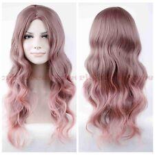 Women's Anime Long Taro Pink Grey Wavy Curly Lolita Hair Cosplay Wigs Free Cap