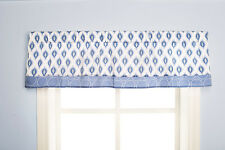 "Dena Indigo Window Valance Blue White 60"" x 14"""