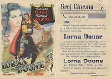 Programa PUBLICITARIO de CINE: LORNA DOONE.