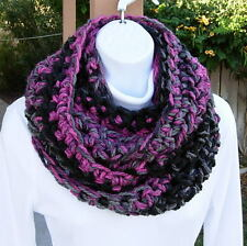INFINITY SCARF LOOP COWL Black, Gray Grey & Dark Pink, Crochet Knit Thick Winter