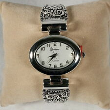 Silver Cuff Watch, Brighton Beach Large Oval Face-Free Xtra Battery!