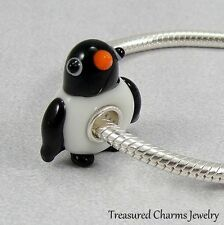 Penguin Bird Lampwork Glass Large Hole Bead Charm fits European Bracelets