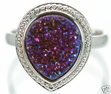 Solid 925 Sterling Silver Purple Pear Shape Druzy Cocktail Ring Size 7 '