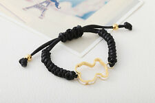 LOVELY BLOGGERS FAV BLACK KNITTED LEATHER ADJUSTABLE TEDDY BEAR BRACELET - NEW