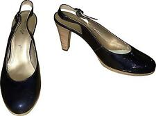 Used Ladies Gabor Navy Blue Slip On 10cm High Heels Size UK 7.5 (A.W)