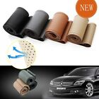 PU Leather DIY 38cm Car Steering Wheel Cover + Hole Needles + Thread Gray Grey