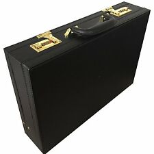 Professional Mens Expanding Attache Case Black with Golden Combination Lock 6906