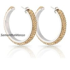 Micro Pave Set GOLD TOPAZ Crystal Hoop Cz Dangle Earrings Stainless Steel NEW