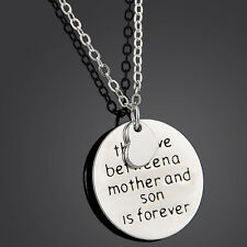 """Carved Words """"The Love Between A Mother And Son Is Forever"""" Necklace Pendant"""