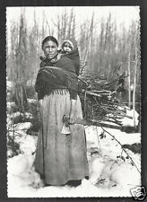 Dene Indian Woman rppc smoking Pipe Axe Baby Canada 1920 Mission