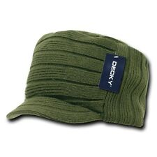Olive Green Knit Flat Top Visor Cap Hat GI Military Army Cadet Jeep Beanie Hats
