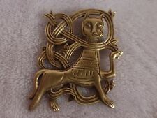 Vintage Cat brooch pin gold tone unique Egypt India Aztec style design, marked