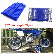 72pcs Universal Motocross Bike Tire Wheel Rim Spoke Skins Cover Protector Blue