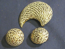 Vintage BSK  Pin Brooch & Round Clip Earring Set White Enamel Feathery Design