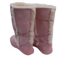 Pink Tall Ugg Boots Australia Sheepskin Rubber Sole Sundance Unisex Wool Boot