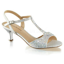 Silver Rhinestone Low Kitten Heels Ballroom Vintage Bridal Flapper Shoes 6 7 8 9