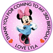 Personalised Mini Mouse Round  50mm x15 Stickers Party Thank You Seals
