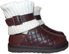 UGG Australia Cambridge Boot Brown Diamond Quilted Leather Bootie 8- 39 sweater