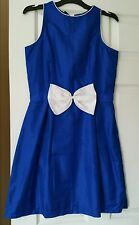 Blue and white  silk bow dress