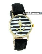 ladies navy anchor gold tone casual fashion watch black leather nautical ocean