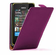 Ultra Slim PURPLE Leather case cover for Nokia Asha 501 Dual SIM / RM-902