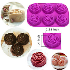 6-Cavity Silicone Rose Flower Mold Food Grade DIY Jelly Cupcake Muffin Mould Pan