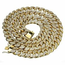 18 mm 30 inch Gold Finish Miami Curb Cuban Iced Out Heavy Men's Chain