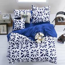 Sale Home Blue White Double Queen Size 2 Pillowcases 1 Quilt Duvet Cover O