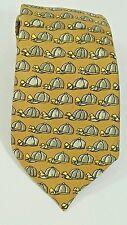 "Hermes Paris Men's Necktie Tie Gold Hat 100% Silk 56"" Long 3"" Wide USA Seller"