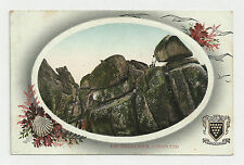 UNUSUAL c1910s POSTCARD - THE LOGAN ROCK, LAND'S END - NICE DECORATED BORDER