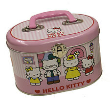 Hello Kitty Oval Sewing Box Train Case Tote Storage Tin  Pink Stripe  NEW