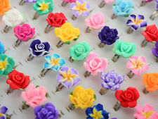 30pcs Wholesale Jewelry Lots Mixed Adjustable Resin Flower Crystal Children Ring