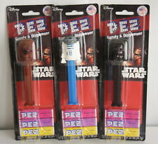 3 Pez Disney Star Wars Dispensers with Candy R2D2 Darth Vader Chewbacca