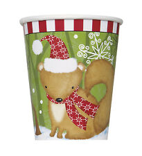 Pack of 8 Christmas Woodland Friends Paper Cups - 270ml - Xmas Party Tableware