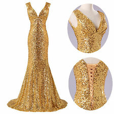 GOLDEN Mermaid Sexy Women Bodycon Long Cocktail Bridesmaid Evening Party Dresses