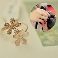 Women Fresh Crystal Gold Plated Opal Flower Ring Charm Jewelry Gift Nice GIFT
