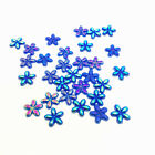 New 100pcs 10mm Resin Plum Flowers Flatback For DIY Phone case Crafts Blue AB