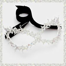 Leaf Vine Crystal Rhinestone Cat Eye Mask Face Mask Masquerade Party Silver AB