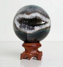 58mm NATURAL AMETHYST GEODE & AGATE SPHERE BALL REIKI w/Rosewood Stand BRAZIL