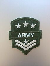 Army Patch - Embroidered/Iron/Sew/Stitch/Glue On - Epaulette Military Green