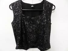 "WOMENS Susan VTG sequin embroidered sleevless Black Size L 32"" VGOOD SKU Wb150"