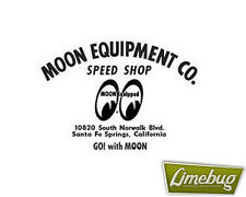 Mooneyes Moon Equipped Black Speed Shop Script Die Cut Sticker Stickers Decal VW