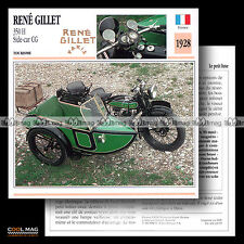 #023.03 SIDE-CAR RENE GILLET 350 H + CG 1928 Fiche Moto Classic Motorcycle Card