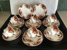 Royal albert old country rose trios x 6 tasses. soucoupes assiettes original timbre