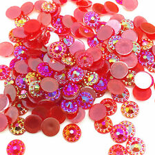 New 200pcs 6mm Flat back Red Resin Sunflower Jelly drill DIY Phone Craft AB