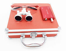 Dental Surgical 3.5X420mm Binocular Loupes+LED Head Light+Aluminum Box Red