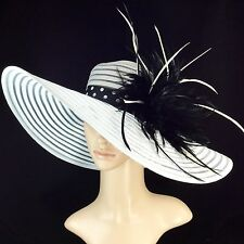 NEW Church Kentucky Derby WHITE Hat Feathers Wide Brim Dress Wedding Tea Party