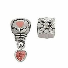 Set of 2 Miss Rhona Sutton Kids Sterling Silver Happy Birthday Charm Beads